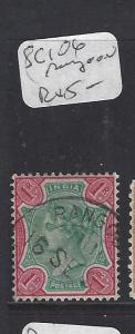 INDIA (PP3008B)   QV 1R RANGOON, BURMA    SQUARE CIRCLE CANCEL SG 106   VFU