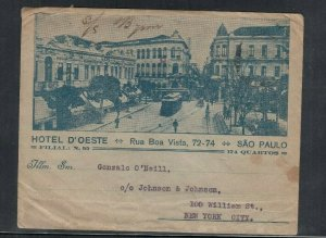 Brazil Advertising Cover Hotel d'Oeste Sao Paulo Hand Carried S.S. Byron to USA