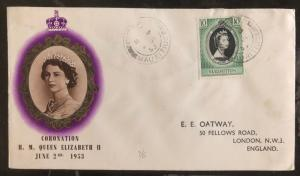 1953 Mauritius First day Coronation cover FDC Queen Elizabeth II QE2 To UK B