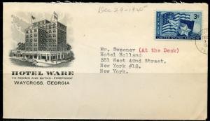 US HOTEL WARE 1945 CACHETED ENVELOPE WAYCROSS GA  TO NEW YORK