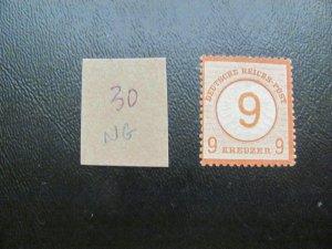 GERMANY 1872 NO GUM MI.NR. 30 LARGE SHIELD SINGLE