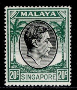 SINGAPORE GVI SG24, 20c black & green, NH MINT. Cat £13.