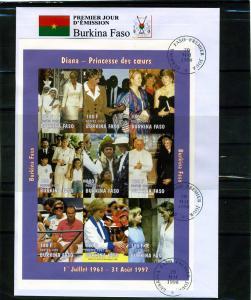Burkina Faso 1998 Pope John Paul II-Princess Diana Sheet Imperforated in FDC