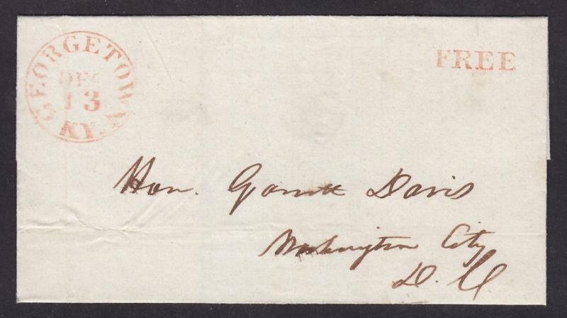 US Stampless Cover, red FREE handstamp, Georgetown KY to Washington City DC