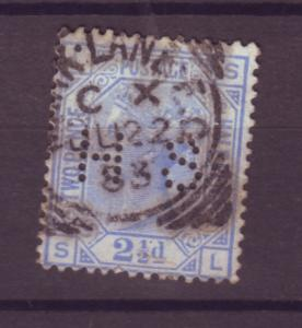 J17586 JLstamps 1880-1 great britain used pl.22 perfin #82 queen wmk 30