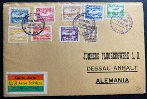 1930 La Paz Bolivia Early Airmail Cover To Dessau Germany Sc#C27-34