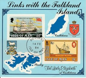 Isle of Man 1984 Links of Falklands Islands Sheet Used 11745
