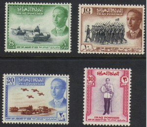 Iraq #181-4, mint set, Army Day, issued 1950