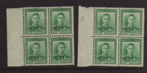 New Zealand 1938 KGVI Plate Block CP M1a #b303