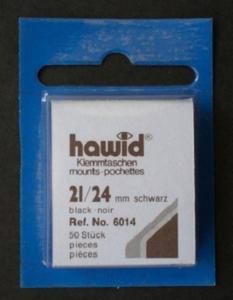Hawid Stamp Mounts Size 21/24 BLACK Pack of 50