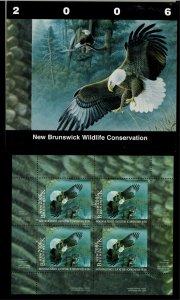 NEW BRUNSWICK #13M 2006 BALD EAGLE CONSERVATION STAMP MINI SHEET OF 4 IN FOLDER