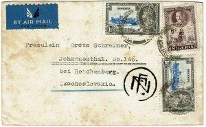 Nigeria 1937 Port Harcourt cancel on airmail cover to CZECHOSLOVAKIA