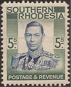 Southern Rhodesia - 1937 5s King George VI - Stamp MNH - Scott #54