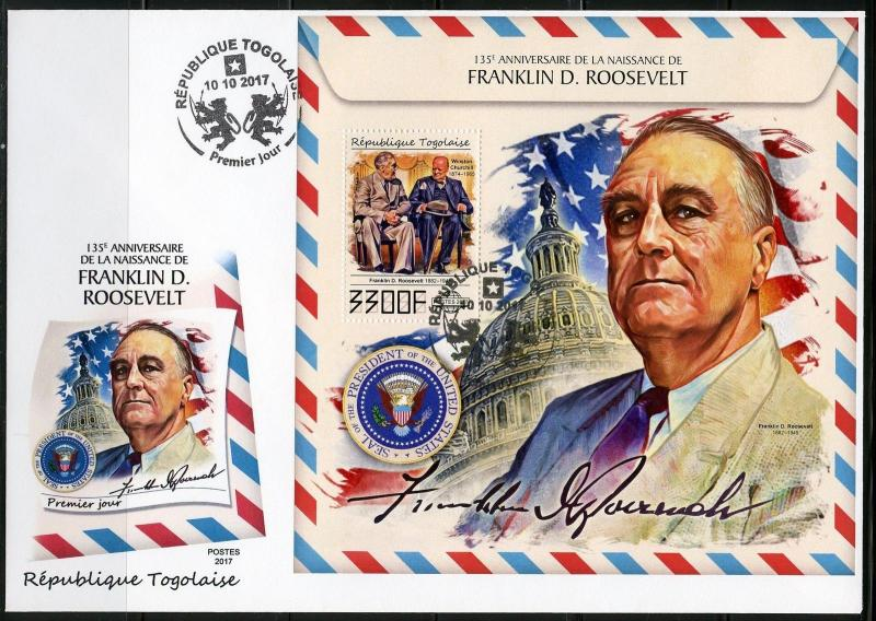 TOGO 2017 135th BIRTH OF FRANKLIN D ROOSEVELT WITH WINSTON CHURCHILL S/S FDC