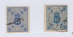 Iceland O6, O6a F-VF Used O6 Stained Perf Bottom CV. $101 (JH 12/20) GP
