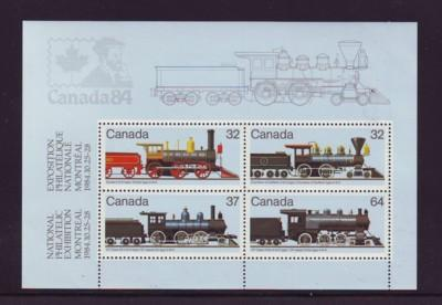 Canada Sc 1039a 1984 Steam Locomotives stamp sheet mint NH