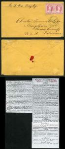 Bahamas 1864 Double Rate to Delaware with a perf 12.5 4d dull rose PAIR (Fault)