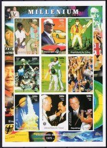 Chad 1999 MILLENNIUM SPACE CHALLENGER CRICKET DIANA Sheet Imperforated Mint (NH)