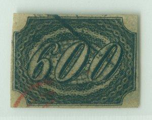 BRAZIL 1844  INCLINADOS  600reis black  Scott # 13 used RARE