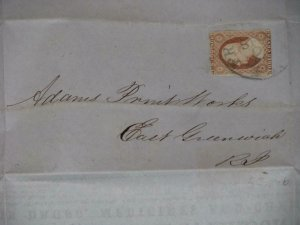 US SCOTT# 11A ON COVER-EARL P. MASON MEDICINES & DRUGS, 1853