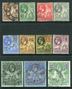 BARBADOS-1912-16  A fine used set to 3/- Sg 170-180