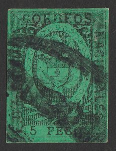 COLOMBIA : 1866 Arms 5P black on green, imperf. Yv 39 cat €280.