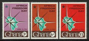Ghana 1962 Scott# 112-114 MNH