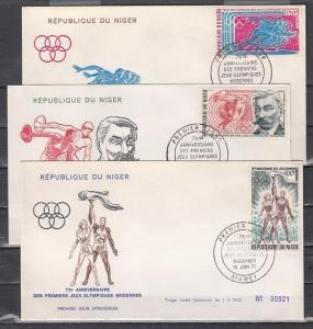 Niger, Scott cat. C159-162. Modern Olympic Games Anniversary. First day cover.