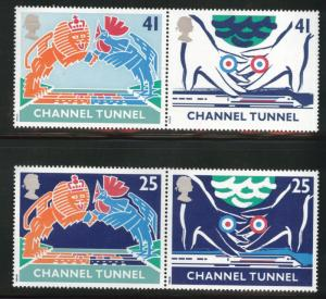 Great Britain Scott 1558-1561 MNH**1994 Channel Tunnel set