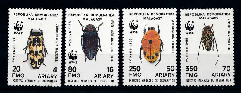 [70742] Madagascar 1988 Insects Beetles WWF  MNH