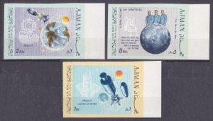 1969 Ajman 466-468b Apollo XI moon landing 8,00 €