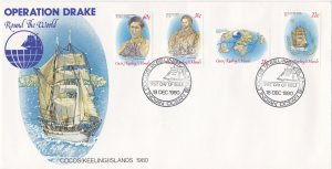 Cocos Islands # 61-64, Operatiopn Drake, First Day Cover