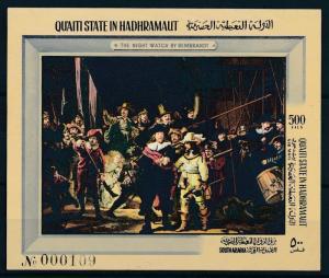 [95517] Aden Qu'aiti State Hadhramaut 1967 Painting Rembrandt Imperf. Sheet MNH