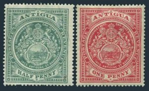 Antigua 31-32,hinged.Michel 26-27. Seal of the Colony,1908.