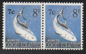 COOK ISLANDS 1967 7c on 8d pair variety : Thick and thin 7c................65893