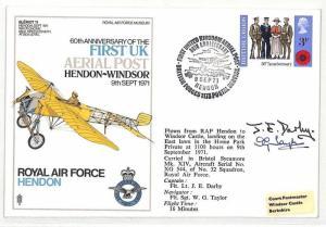 BK94 1971 GB First UK Ariel Post RAF Hendon Airmail Cover {samwells}PTS