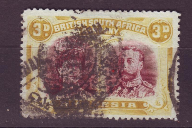 J17094 JLstamps 1910 rhodesia used #105 king and queen $52.00 scv dark cancel