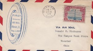 US First Anniversary Airmail AKRON Ohio Wheel Shape Slogan1929 Stamp Cover 48502