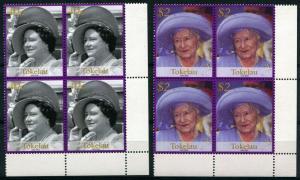 Tokelau 2Blocks of 4 #312 #313 Queen Mother Elizabeth 40c $2 Stamps Postage MNH