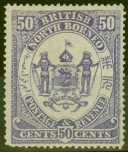 North Borneo 1886 50c Violet SG30 Fine & Fresh Lightly Mtd Mint
