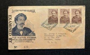 1942 José Manuel Estrada Buenos Aires Censored Cover to Denison TX
