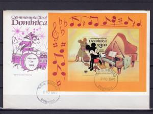 Dominica 1979 #653 I.Y.C. Walt Disney/Piano/M.Mouse S/S Official FDC