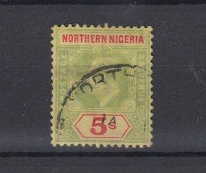 Northern Nigeria KGV 1912 5/- Green Red Yellow SG50 Cat £85 VFU JK5406