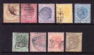 STRAITS SETTLEMENTS  1867-72   QV  SET 9  FU   SG 11/19