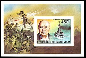 Upper Volta 351, MNH imperf., Birth Centennial of Churchill souvenir sheet