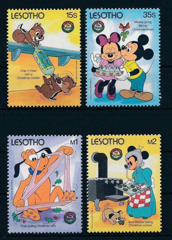 [22301] Lesotho 1986 Disney Christmas Mickey Mouse Chip n Dale Pluto MNH