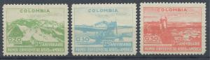 Colombia 1945 MNH Set - 524-526 | 25th Airmail Anniversary