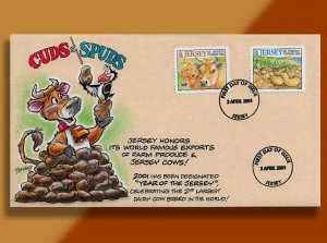Cuds & Spuds: Happy Cow and Potato Pile Convene on Handcolored Jersey FDC