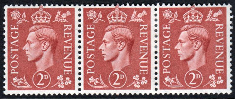 GB KGVI 1950 2d Pale Red-Brown SG506 Block x 3 Mint Hinged
