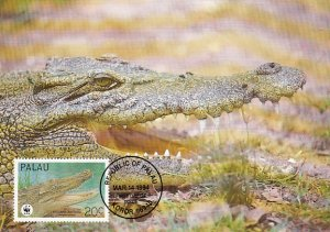 Palau 1994 Maxicard Sc #323a 20c Estuarine crocodile WWF